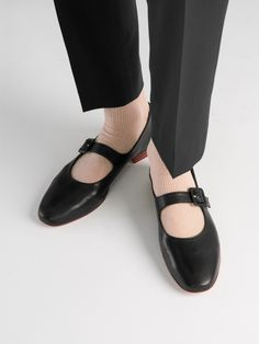 These flats are designed in a round-toe silhouette, detailed with a decorative Mary Jane strap and set on moderate leather heel. A perfect style that is inspired from the comfort of the dreamy past but look just as contemporary for the hype of this season. Leather Heels, Tan Leather, Leather Design, Vegetable Tanned Leather, Mary Janes, Ballet Flats, Toe, Silhouette, Contemporary
