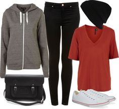 Eleanor Inspired Outfit for Disneyland. Requested by Anonymous.    Boutique  shirt / Topshop slouchy top / Topshop black skinny jeans / The Cambridge Satchel Company genuine leather handbag / River Island black beanie hat, $12 / Converse Slim Ox 113902, $68