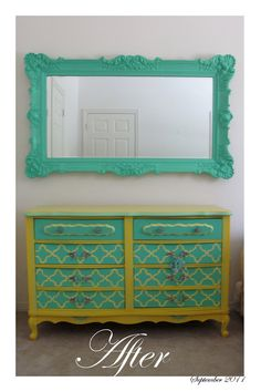 Shabby Chic Large Light Teal Mirror by AccomidationApplique