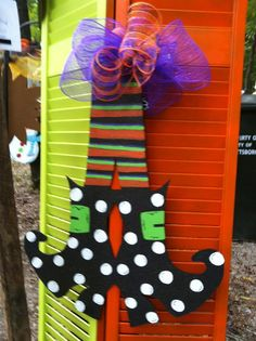 Witches Legs and Feet Door hanger Halloween Decor by lalamoesbows, $30.00