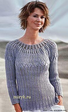 Женственный сиреневый пуловер с круглой кокеткой