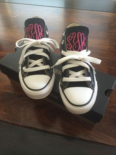 Monogrammed converse by Wee 3 Busy Bees!  Adult and Children's sizes.