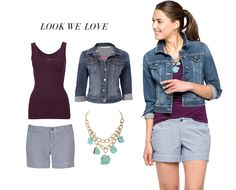 Shorts + Cami + Jean Jacket + Necklace = Your new favourite summer outfit! And it's so easy to remix with different tees & camis, shorts, or necklaces. #rickis #weekendchic #weekendstyle #summer2014