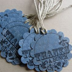 Handstamped Gift Tags  Round Scalloped & Denim Blue by MariaSoleil, $2.25