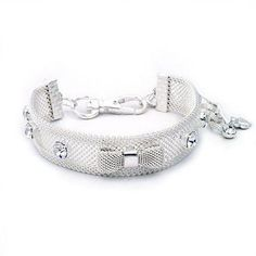 Clear Crystal Mesh Bow Dog Necklace