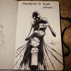 A year appointment ends of Inktober in which artists from around the world unleash their creativity. Shawn Coss drawing the mental disorders. Creepy Drawings, Dark Drawings, Creepy Art, Cool Drawings, Arte Horror, Horror Art, Dark Art Illustrations, Illustration Art, Mental Health Art