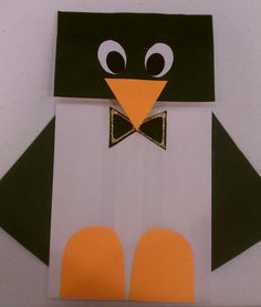 Penguin Craft - Paperbag and card stock.
