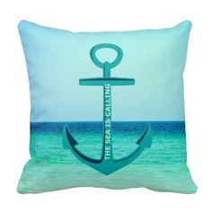The Sea is Calling Anchor  Typography Pillow by Beach Bliss Designs: http://www.beachblissdesigns.com/2015/06/the-sea-is-calling-nautical-anchor.html