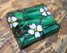 Art Glass For Sale - Green Dogwood Box 2013 by Gmichael Molnar at ArtsyHome Stained Glass Flowers, Stained Glass Crafts, Faux Stained Glass, Stained Glass Patterns, Stained Glass Windows, Window Glass, Blown Glass Art, Glass Wall Art, Mosaic Glass