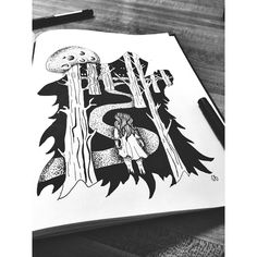 -character, like a photograph, develops in the darkness- Yousaf Karsh  #creativejuice #handdrawn #sharpie #ink #inktober #wolf #woods #darkness