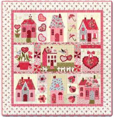 Sweetheart Houses... What an Adorable Quilt! Available as a kit or Block of the Month.