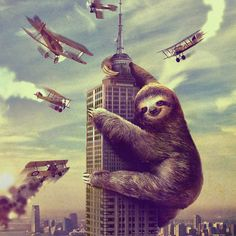 """King Kong?! Godzilla?! NO! Slothzilla! This just might be the laziest attack ever! It's amazing that Slothzilla made it up that high without falling asleep... This movie style poster will make all your guests do a double take!   Printed on 18"""" x 24"""" cover stock paper. Rolled for shipment."""