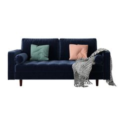 Homewares Online, Online Furniture Stores, Navy Blue Velvet Sofa, Making Space, Round Pillow, Lounge Sofa, Seat Cushions, Love Seat, Sweet Home