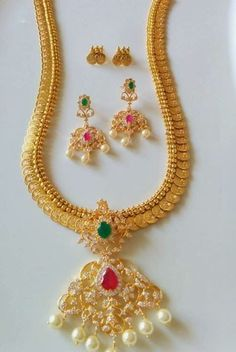 Indian Jewellery and Clothing: Beautiful Gold Coated designer jewellery from SAMSKRUTHI JEWELLERS, Hyderabad.