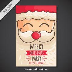 Christmas party invitation with hand drawn cheerful santa Free Vector