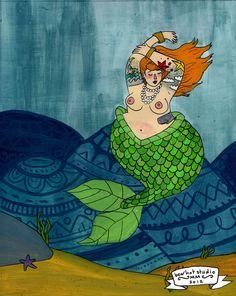 fat tattooed mermaid