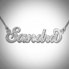 This pendant is made out of Sterling silver (0.925), and comes with a Sterling silver Box chain. Please Specify your Sparkling Name. One name or word per pendant. First letter only is capitalized. The size of the pendant varies in accordance with the length of the name Material: Sterl...