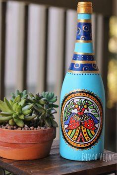 Handpainted Bottle Vase / Up-cycled Wine Bottle / Madhubani Painting on a Wine Bottle / Home decor / Indian folk art by DivyaVijayStudio on Etsy Painted Glass Bottles, Glass Bottle Crafts, Wine Bottle Art, Bottle Vase, Decorated Bottles, Glass Craft, Diy Bottle, Pottery Painting Designs, Pottery Designs