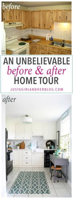 This is an incredible transformation of an entire home from ugly and outdated to light, bright, and beautiful! Pop over to the post to see the whole before and after home tour!