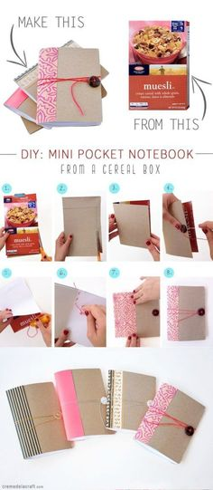 Upcycled Cereal Box Crafts - DIY Projects Using Old Cereal Boxes - Papier etc - Create a DIY Mini Notebooks – Cereal box crafts. Upcycled Crafts, Crafts From Recycled Materials, Recycled Art Projects, Diy Craft Projects, Recycling Projects, Cereal Boxes, Cereal Box Crafts, Cereal Box Craft For Kids, Papier Diy