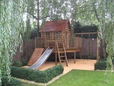 Childrens bespoke playhouse - would be worth getting rid of the shed and loosing so much space for this. #gardenplayhouse #playhousesforoutside #kidsoutdoorplayhouse