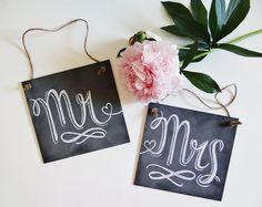 READY TO SHIP Shabby Chic Rustic Wedding - Wedding Chair Signs - Mr. & Mrs. Signs- Wedding Photo Props - Wedding Chalkboard
