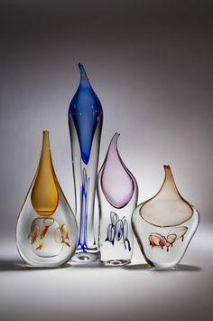 Eileen Gordon Evolution Bottles Art Of Glass, Cut Glass, Steuben Glass, Murano Glass, Spirited Art, Glass Design, Hand Blown Glass, Glass Ornaments, Mosaic Glass