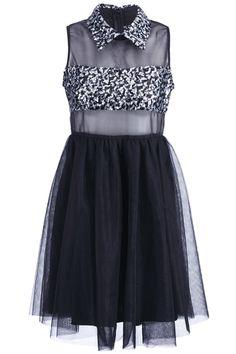 Romwe.com Sequined Black Gauze Splicing Dress  $44.99 #Romwe