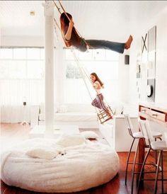Indoor swings! I wish I had a playroom like that when I was a kid!!!