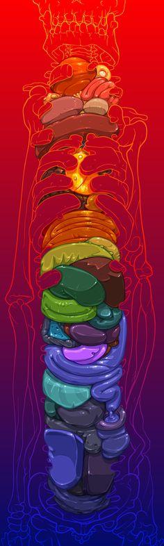 Totem, 2013 vector art by David Lanham    Beautiful and bright anatomically-inspired work!