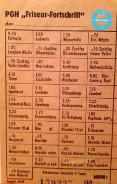 #DDR Frisoerpreise ---- prices at the hairdressers. #GDR