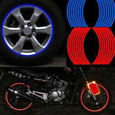 Colorful TOMALL 17 Reflective Wheel Rim Stripe Decal for Motorcycle Wheels Car Cycling Bike Bicycle Night Reflective Safety Decoration Stripe Universal Rim Reflective Stickers