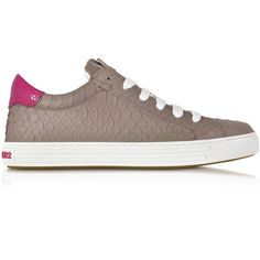 DSquared2 Designer Shoes Tennis Club Grey and Fuchsia Embossed Leather... ($260) ❤ liked on Polyvore featuring shoes, sneakers, snake sneakers, gray sneakers, lace up shoes, tennis trainer and logo cap