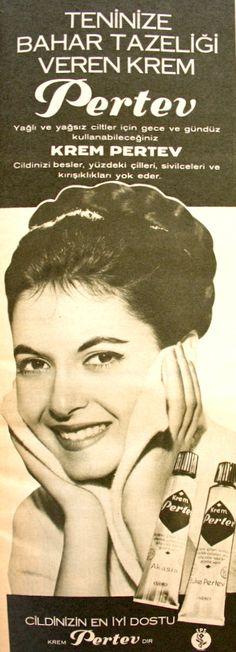 OĞUZ TOPOĞLU : krem pertev 1967 nostaljik eski kozmetik bakım ürü... Old Ads, Vintage Advertisements, Once Upon A Time, Nostalgia, Commercial, Advertising, Memories, Retro, Movie Posters