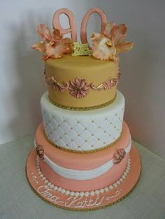 90th Celebration - Birthday cake - * Peach and Gold 3tier birthday cake