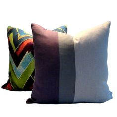 Instantly update your decor with our contemporary linen Plum Gray Natural Colour Block Pillow Cover Colour Block, Color Blocking, Plum, Pillow Covers, Etsy Seller, Throw Pillows, Contemporary, Gray, Natural
