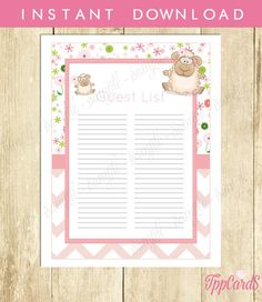 Instant Download Pink Lamb Guest List Printable Girl Lamb Theme Baby Shower  Guest SIgn In Sheet