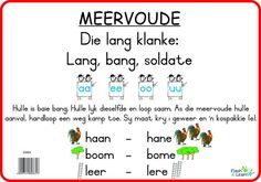 Meervoude (Lang Klanke) Available in Afrikaans only Printable Preschool Worksheets, 1st Grade Worksheets, New Classroom, Classroom Themes, Speech Language Therapy, Speech And Language, Afrikaans Language, Abc For Kids, Kids Fun