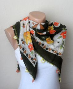 green scarf multicolor scarf cotton scarf handmade scarf