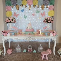 Image may contain: indoor Butterfly Party Decorations, Butterfly Birthday Party, Butterfly Baby Shower, Fairy Birthday, Birthday Fun, First Birthday Parties, Birthday Party Decorations, Table Decorations, Baby Girl 1st Birthday