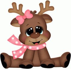 Silhouette Design Store: girl reindeer sitting pnc