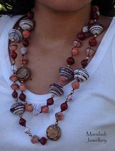 Ettaka paper bead necklace by maridadijewellery on Etsy