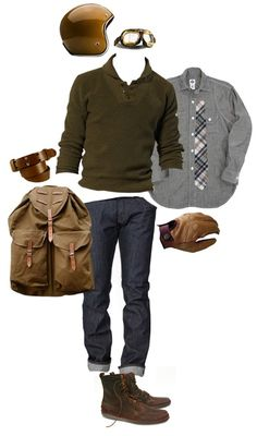 I would substitute the Grey/Blue button up for a rich crimson color. Men's fashion and style photos | Men fashion