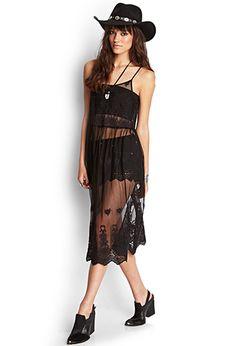 Sheer Mesh Embroidered Dress   FOREVER21 - 2000125017