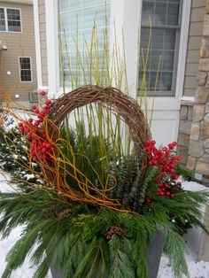 "Explore our internet site for additional information on ""winter gardening"". It is a superb place to read more. Christmas Window Boxes, Christmas Urns, Farmhouse Christmas Decor, Winter Christmas, Christmas Wreaths, Winter Porch, Winter Container Gardening, Outdoor Christmas Planters, Winter Planter"