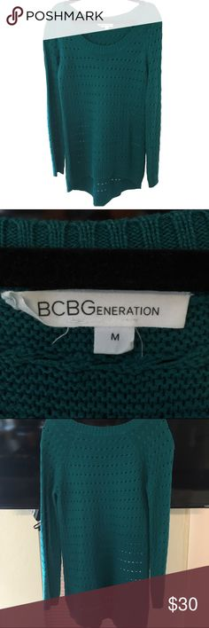Turquoise BCBGeneration Sweater BCBGeneration sweater in a rich turquoise. Boat neck, high-low effect. BCBGeneration Sweaters Crew & Scoop Necks