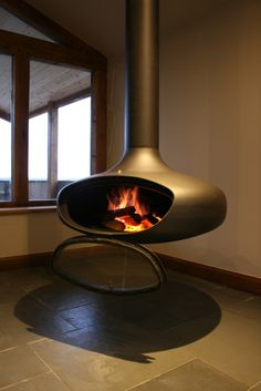 FireBob suspended wood burning stove by Firemaker, door open