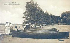 The beach at Port Dalhousie, Ontario circa 1900 St Catharines, Old Photos, Ontario, Canada, Black And White, History, Beach, Image, Book