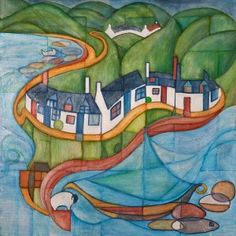 Impressions of Corrie Arran. One of my first Impressions paintings I have included all the icons of Corrie, the viking ship has now moved to Lamlash though!