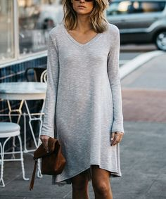 Another great find on #zulily! Gray Long-Sleeve V-Neck Dress #zulilyfinds